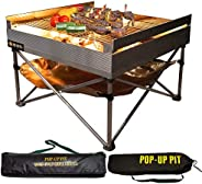 Campfire Defender Protect Preserve Pop-Up Fire Pit - Portable Outdoor Fire Pit/BBQ Grill - Cook with Charcoal, Wood, Or Pell