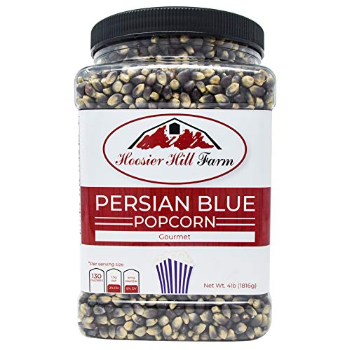Hoosier Hill Farm Gourmet Persian Blue, Popcorn Lovers 4 lb. Jar. (Best Gourmet Popping Corn)