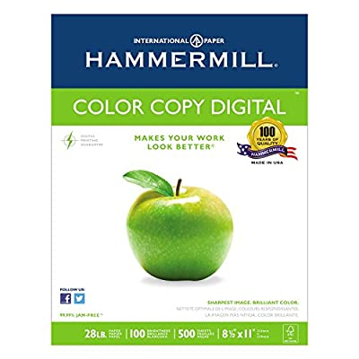 Hammermill 102450 Copy Paper, 100 Brightness, 28lb, 8-1/2 x 11, Photo White, 2500/Carton