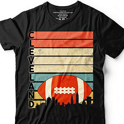 (Vintage-Retro-Stripe Cleveland Cle-Downtown-Skyline Football Game-Day Team Champion Customized Handmade T-shirt/Hoodie/Sweater/Long Sleeve/Tank Top/Premium T-shirt)