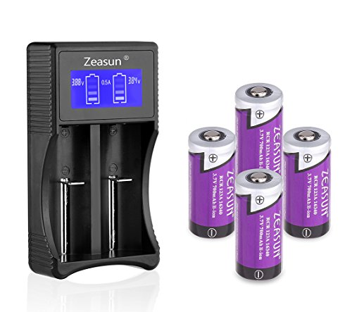 16340/CR123A Rechargeable Battery 4 Pack Zeasun PTC Protected Lithium Batteries with LCD Battery Charger for Li-ion 18650 16340 14500 26650 Ni-MH Ni-CD AA AAA C D Rechargeable Batteries,3.7V,700mAh