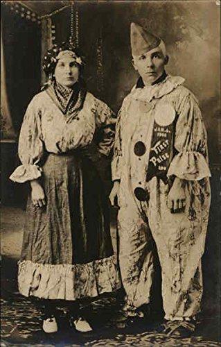 Portrait of Couple in Costume Ava & Harrie Waupun, Wisconsin Original Vintage Postcard -