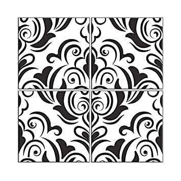 Nish Damask Pattern Ceramic Wall Tiles Highlighter Tiles Poster Tiles For Bathroom Seamless Repeatable Pattern 214 Ceramic Tiles Gloss Finish 2ft W X 2ft H Pack Of 4 Tiles Amazon In Home Improvement