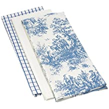 Mahogany Toile Kitchen Towel, 18 by 28-Inch, Blue, Set of 3