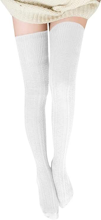 semen Calcetines de punto por encima de la rodilla para mujer ...