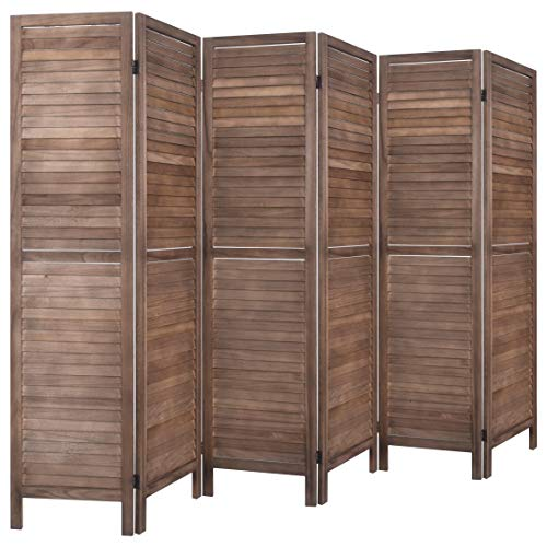 (Rose Home Fashion RHF 6 Panel 5.6 Ft Tall Wood Room Divider, Wood Folding Room Divider Screens, Panel Divider&Room Dividers, Room Dividers and Folding Privacy Screens (6 Panel, Brown))