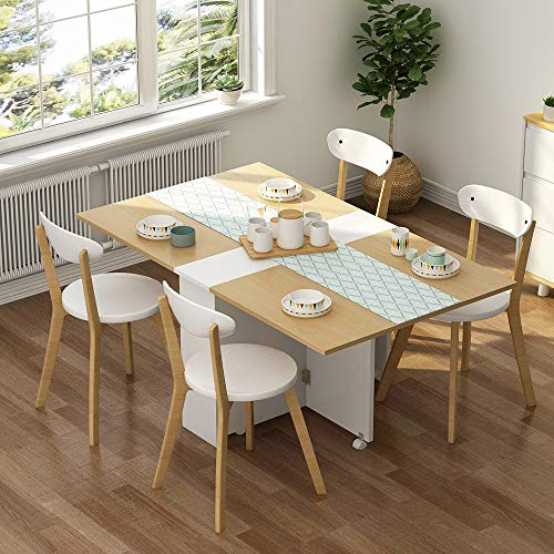 (Tribesigns Folding Dining Table Set, Movable Dinner Table with 4 Dining Chairs, 6 Wheels Extendable Table with Storage Cabinets for Home Kitchen, 4 Assembled Solid Wood Dining Chairs Included)