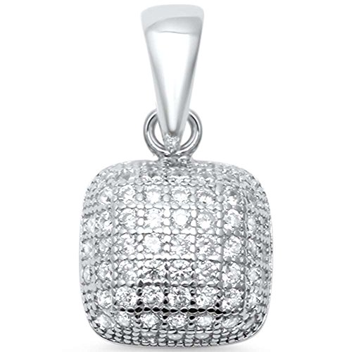 Sterling Silver Square Micro Pave Pendant ()