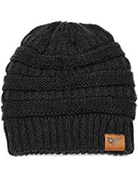 Knits Beanie Hat Thick Soft Winter Unisex Hat Warm Stretch Ponytail Cable Fuzzy Lined Hat for Women & Men
