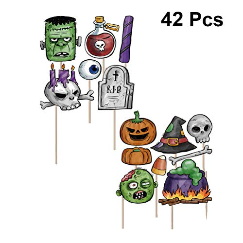 Amosfun Halloween Cake Topper Picks Pumpkin Ghost Skull Head Shaped Cupcake Toppers DIY Paper Cake Fruit Picks Halloween Party Decoration Supplies 42PCS]()