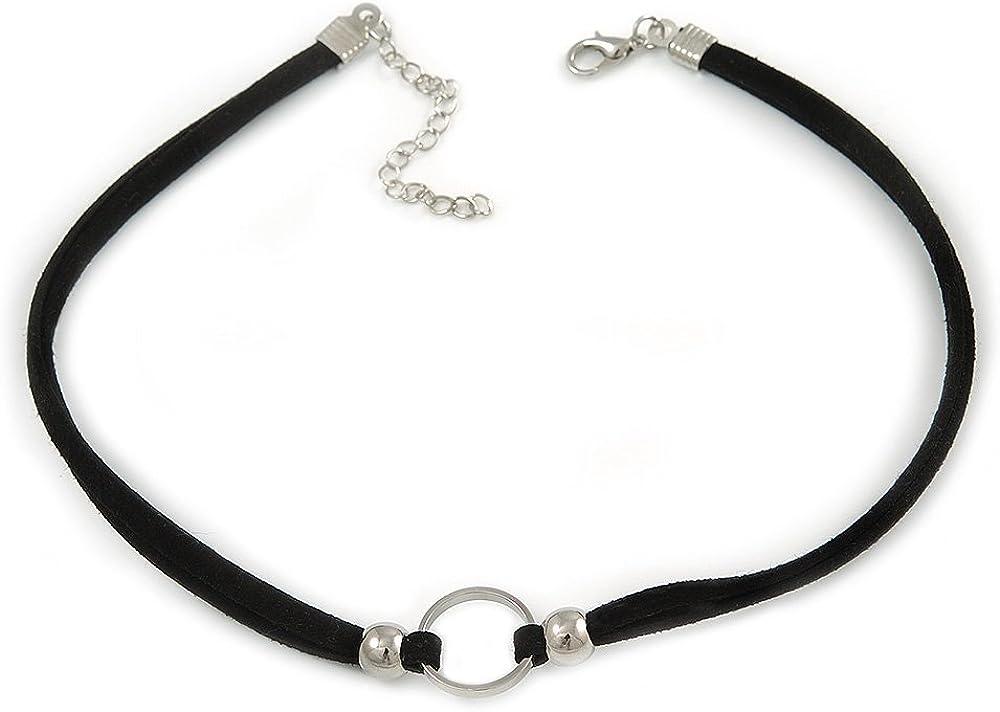 Avalaya - Gargantilla con cordón de ante doble, color negro y plateado con colgante de anillo – 32 cm de largo / 6 cm de largo