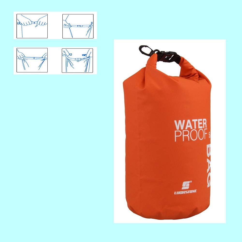 Kayaking Camping Fishing,Swimming and Hiking Orange Waterproof Dry Bag-2L Roll Top Compression Sack with Shoulder Straps and Front Zippered Pocket Keeps Gear Dry for Boating