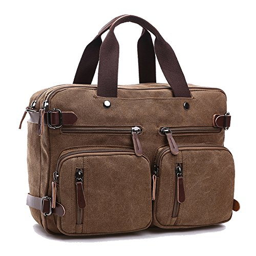 Canvas Messenger Bag, Gudui Shoulder Bag Computer Laptop Bag Convertible Backpack Briefcase 15.6 Inch Multi functionalHandbagSatchel Bag School Bag Working Bag for Men / Women (Coffee) (Bag Large Messenger Tenba)
