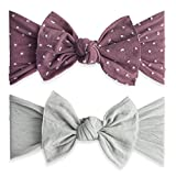 Baby Bling 2 Pack: Shabby Dot and Classic Knot Girls Baby Headbands - Lilac Dot/Grey