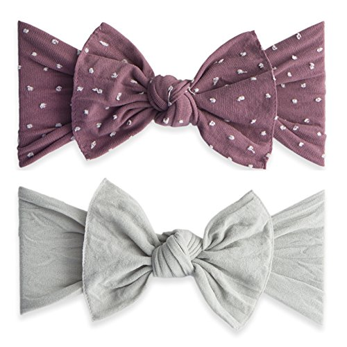 Baby Bling Bow 2 Pack: Shabby Dot and Classic Knot Girls Baby Headbands - MADE IN USA - Lilac Dot/Grey