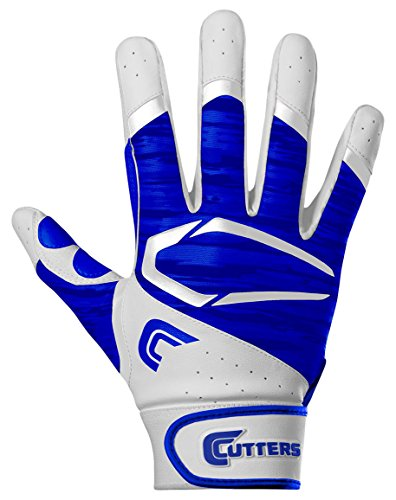 Cutters Gloves Adult Power Control 2.0 Batting Gloves, White/Royal, (Cutter Baseball Batting Gloves)
