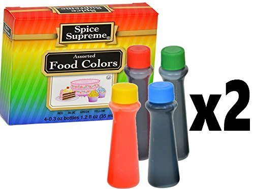 Pack of 2 Spice Supreme Assorted Food Colors Red Blue Green Yellow 1.2 Oz (35ML)