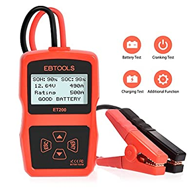 Car Battery Tester ,EBTOOLS 12V 100-2400 CCA 220AH Battery Digital Analyzer with Cranking Test,Charging Test,Battery Test,Automotive Load Battery Analyzer Tool for Car / Boat / Motorcycle/SUV/ATV by EBTOOLS