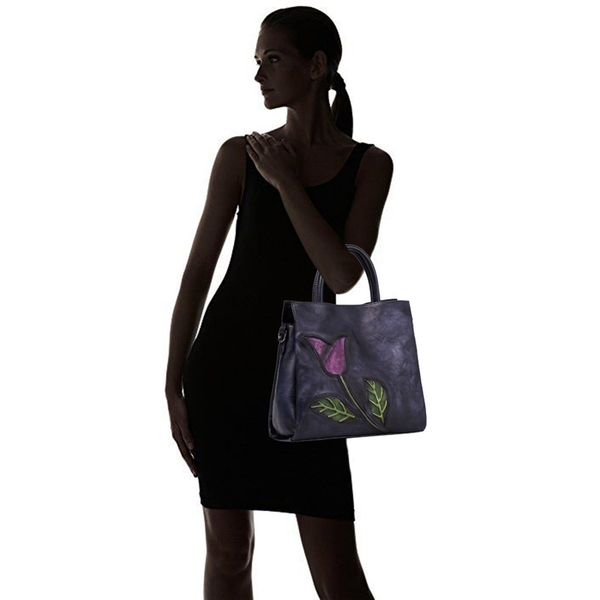 Aphison Designer Soft Leather Totes Handbags for Women, Ladies Satchels Shoulder Bags (BLACK) by APHISON (Image #7)