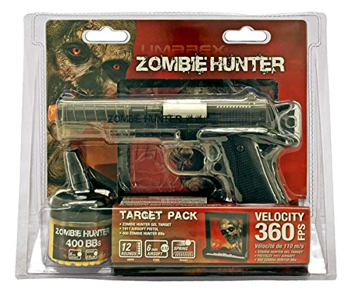 (AirSoft Zombie Hunter Full Scale Spring Powered Set w/Pistol, Ammo & Gel Target)