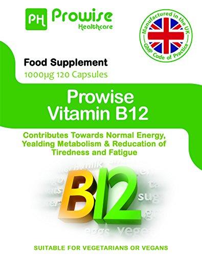 Prowise vitamina B12 metilcobalamina 1000 mcg - 120 cápsulas (Contribuir a la energía normal, metabolismo de Yealding y reducción del cansancio y la ...