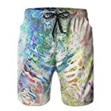Tiger Watercolor Paint Africa Animals Men's Workout&swim Trunks Quick Dry Board Shorts With Pockets And Drawstring