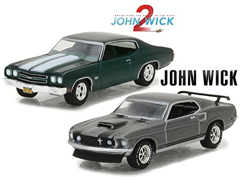 - Greenlight 1969 Ford Mustang Boss 429 with 1970 Chevy Chevelle SS 396, John Wick 1 & 2 1/64 Scale Diecast Car Bundle