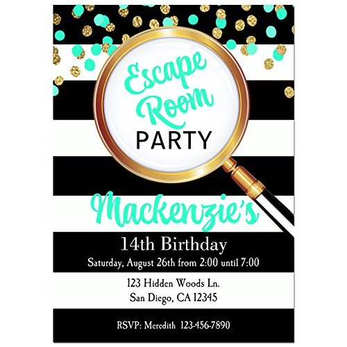 Teal Escape Room Party Invitations with ANY Wording Printed or Printable - Escape room, mystery, Party Invitation - Glasses Printable Invitations