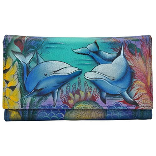 Anuschka Women's Genuine Leather Clutch Wallet | Hand painted Original Artwork | Dolphin World