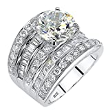 Round and Baguette White Cubic Zirconia Platinum over .925 Sillver Concave Multi-Row Scoop Ring