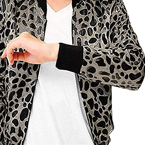 Black Flight Long Men's Bomber Collar Jacket Coat Beige Autumn Jacket Jacket Huixin Leopard Apparel Fashion Zipper Vintage Sleeve Print Stand Winter Leisure RdvTqC