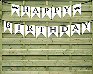 Happy Birthday Mustache Paper Garland Bunting Party Decoration Banner from Cake Supply Shop