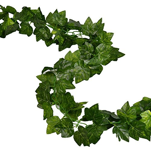 RURALITY 16 Ft -2 Artificial Ivy Silk Fake Vines Hanging Wedding Garland ,Grape Leaves,Pack of - Green With Ivy