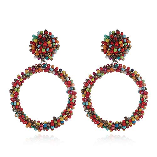 Women Girls Hoop Earrings Fashion Bohemia Colorful Beads Stud Dangle Earrings-280 Multicolor