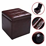 Cube Ottoman Pouffe Storage Box Lounge Seat Footstools with Hinge Top Brown For Sale