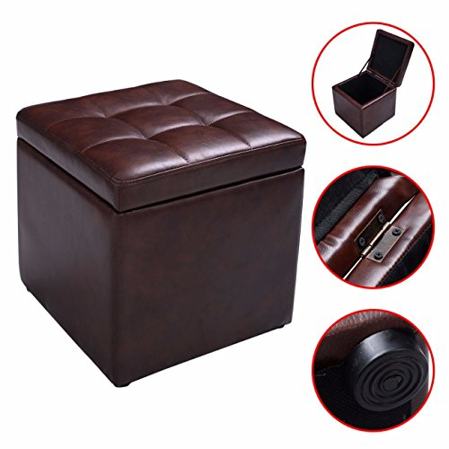 Cube Ottoman Pouffe Storage Box Lounge Seat Footstools with Hinge Top Brown