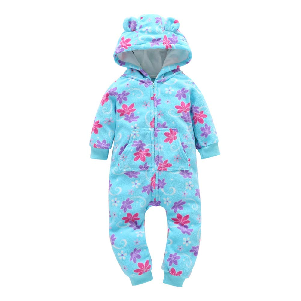 AIKSSOO Toddler Baby Boy Girls Romper Outfit Winter Warm Jumpsuit Hooded Footies
