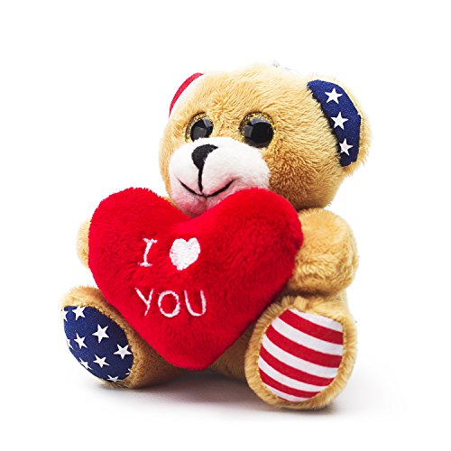 Bear of Allan Stuffed Animal Teddy Bear Keychain 3.54 Inch (Heart -