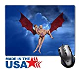 "weather for wi - MSD Natural Rubber Mouse Pad/Mat with Stitched Edges 9.8"" x 7.9"" IMAGE ID: 5989794 A demon in flight with a women"