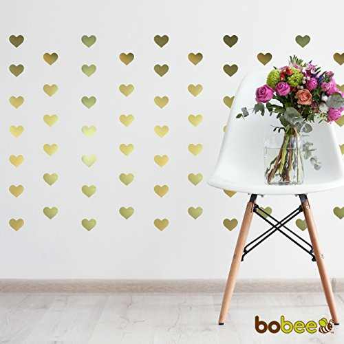 Bobee gold heart dots vinyl wall decals 36 count import for Cute gold heart wall decals