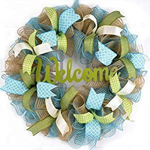 Welcome Spring Wreath | Mother's Day Wreath | Turquoise Blue Moss Green Ivory Burlap Jute 107