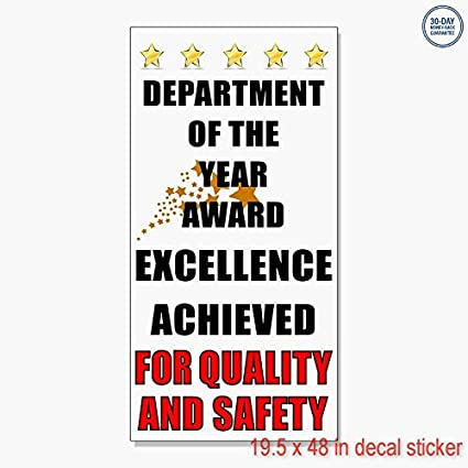amazon com department of the year award quality safety vinyl decal
