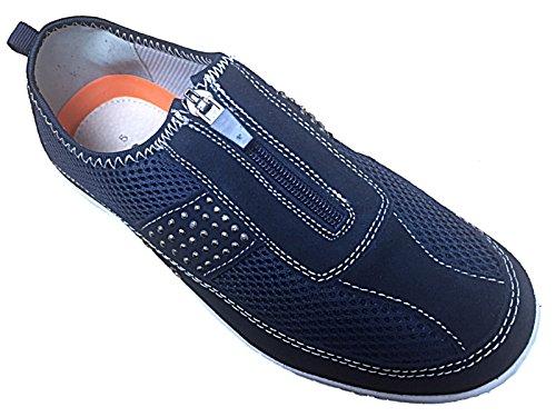 Damen Turnschuhe von Bernie/Brenda Cushion Walk Lifestyle Leder Zip gehen gehen Casual Pumpen Trainer, Größe 3�? (UK) Navy