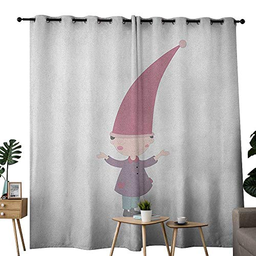 "Price comparison product image NUOMANAN Customized Curtains Kids, Little Cartoon Gnome Character Illustration with a Big Pink Hat Standing Under Rain,  Multicolor, Blackout Thermal Insulated, Grommet Curtain Panel Set of 2 52""x72"""