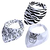 6# Little Zebra 3Pcs-Baby-Girls-Boys-Kids-Triangle-Head-Scarf-Bandana-Bibs-Saliva-Towel-Dribble