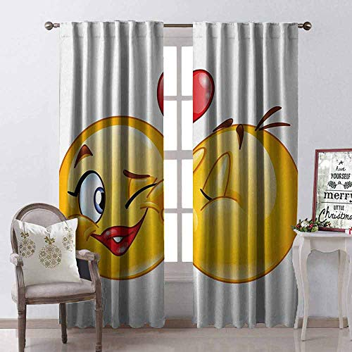 GloriaJohnson Emoji Wear-Resistant Color Curtain Romantic Flirty Loving Smiley Faces Couple Kissing Eachother Hearts Image Art Print Waterproof Fabric W42 x L84 Inch Multicolor