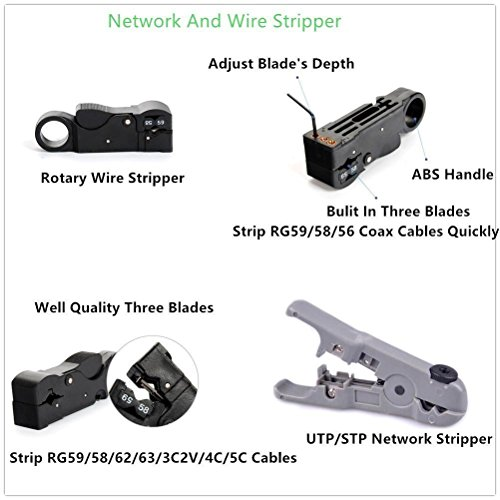 Bestmotoring Cable Repair Maintenance Tool Kit Set 11 in 1 Cable Crimper Cat.6 Three-Purpose Network Crimping Tool, 8P+6P+4P Three-Plier Crimping Tool.RJ45 RJ11 Cat5 Cat6 Cable Tester,RJ45/12/11 by Bestmotoring (Image #6)