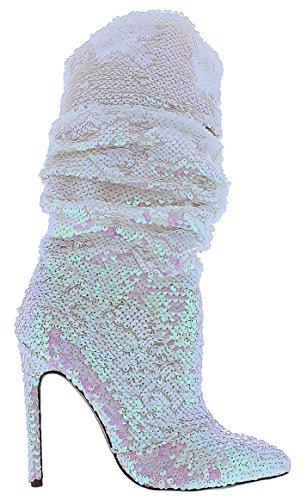 Liliana Xaya-19 Tacco A Spillo Alto Al Ginocchio Stivaletto A Punta Slouch Con Paillettes Stivali Ologramma Rosa Rosa