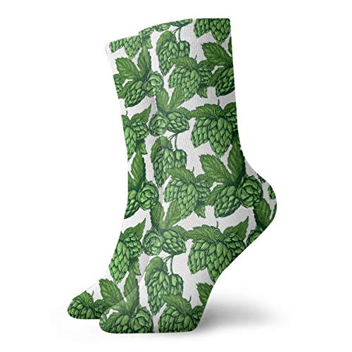 Artistic Beer Hops Pattern Crew Socks Casual Funny For Sports Boot Hiking Running Etc.]()