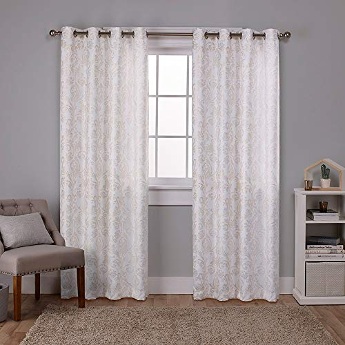 Exclusive Home Curtains Watford Distressed Metallic Print Thermal Window Curtain Panel Pair with Grommet Top, 52x96, Winter White, Gold, 2 Piece]()